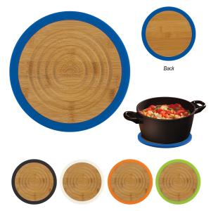 Round Bamboo and Silicone Trivet
