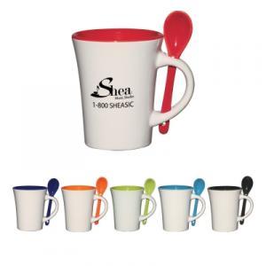 8 Oz. Ceramic Mug with Spoon