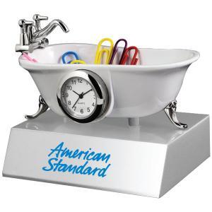 Elegant Bathtub Clock And Paper Clip Holder