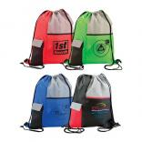 Drawstring Backpack with Cellphone Pocket Flap