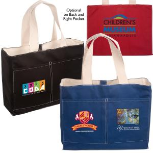 10 oz. Double Front Pocket Cotton Tote with Magnetic Snap Closure