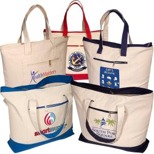 Natural 12 oz. Cotton Tote Bag with Colored Bottom and Zippered Side Pocket