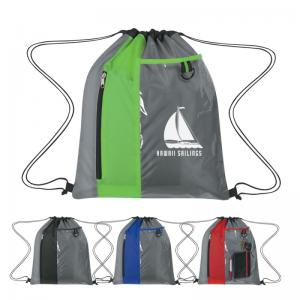 Polyester Drawstring Backpack with Clear and Front Zippered Pocket