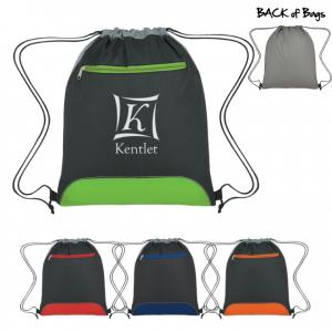Polyester Drawstring Backpack with Mesh Trim