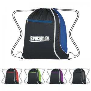 Polyester Drawstring Backpack with Mesh Accent