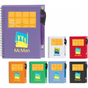 Spiral Notebook With Stylus Pen And Cover Business Card Holder