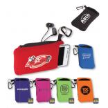 Cell Phone Pouch with Zipper Closure and Carabiner