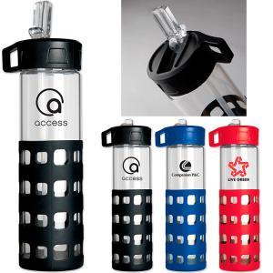 20 OZ. Flip-N-Sip Glass Water Bottle