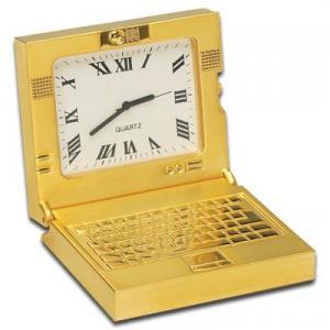 Gold Lap Top Computer Clock