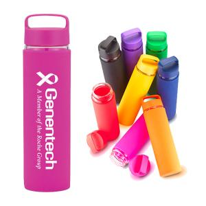 20 Oz Shatter Proof Glass Sports Bottle W/ Silicone Grip