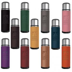 17 oz. Insulated Thermal Bottle with Leatherette Accent Sleeve