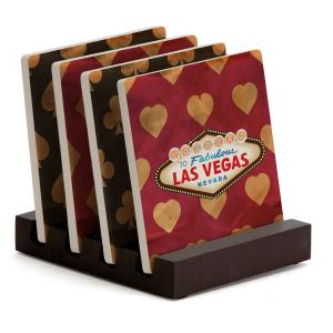 Four Piece Square Coaster Set with Stand
