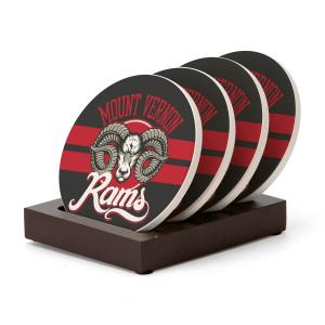 Four Piece Round Coaster Set with Stand