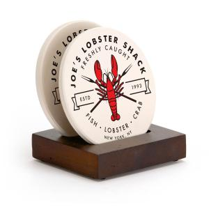 Two Piece Round Coaster Set with Stand