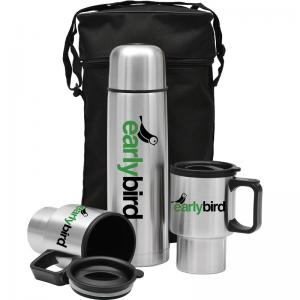3 Piece Stainless Steel Thermal Carrier and Travel Mug Gift Set