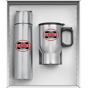 2 Piece Stainless Steel Thermos and Travel Mug Set