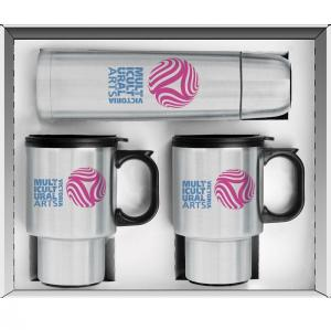 3 Piece Bullet Stainless Steel Thermos and Travel Mugs Set