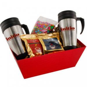 Coffee Gift Tray with Two 16 oz Travel Mugs and Candy