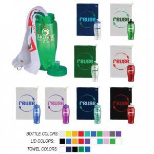 27 oz. Transparent Sports Bottle Stuffed with Golf Towel
