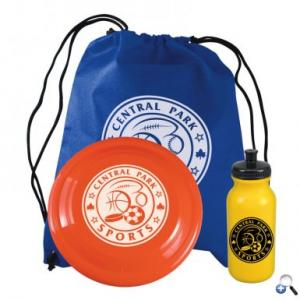 Economy Three Piece Sports Kit with Non-Woven Drawstring, Bike Bottle, and Flyer