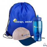 Three Piece Hiking Kit with Drawstring Backpack, Sports Bottle, and Cotton Hat