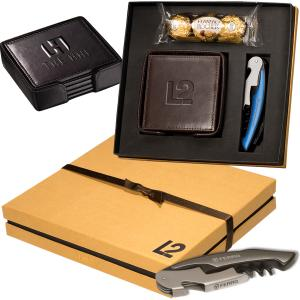 Leeman New York Coaster & Corkscrew & Ferrero Rocher Chocolate Gift Set