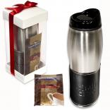 Leather Wrapped Leeman Tumbler with Ghirardelli Hot Cocoa Gift Set