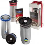 Premium Click & Sip Stainless Steel Tumbler with Ghirardelli Hot Cocoa Gift Set