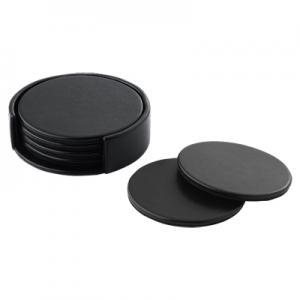 Black Round 4 Coaster Set