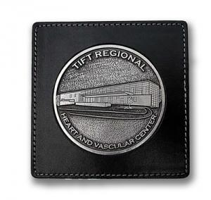 Square Leather Coaster with Round Cast Insert