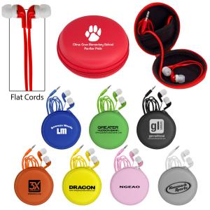 Premium Colorful Earbuds in Round Zip Case