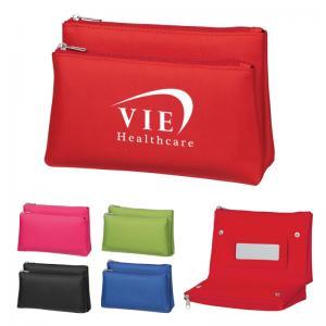 Folding Dual Zip Vanity Bag with Mirror