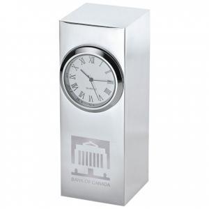 Analog Silver Plated Column Clock