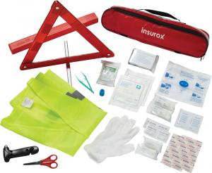 Warning Triangle/Vest 34 Pc. Auto Safety First Aid Kit