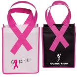 Small Breast Cancer Awareness Tote With Pink Ribbon Handles