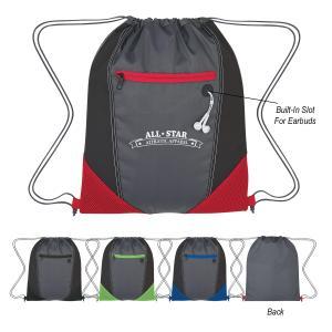 Front Ear Bud Slot Drawstring Bag