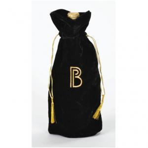 Custom Printed Velvet Drawstring Wine Tote Bag