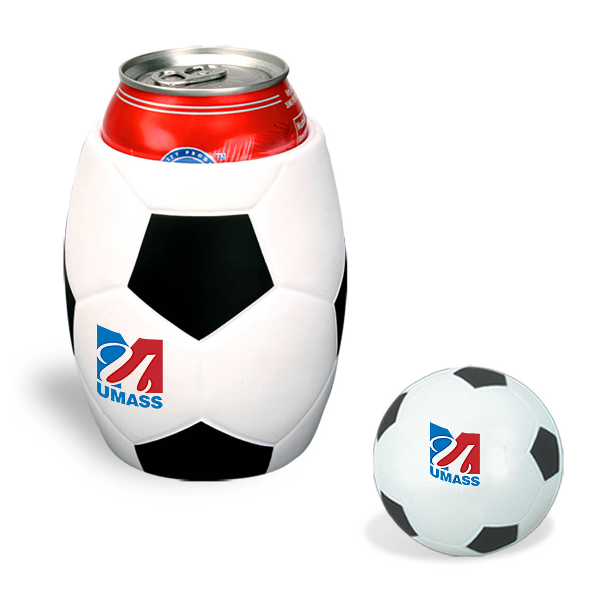 Soccer Ball Stress Reliever In Can Koozie Combo