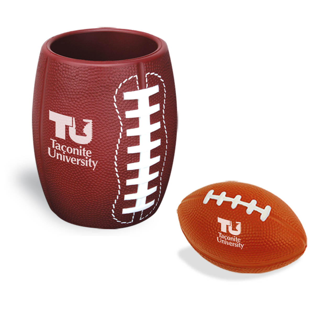 Football Stress Reliever In Can Koozie Combo