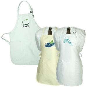 Gourmet Apron With Pockets - Natural And White