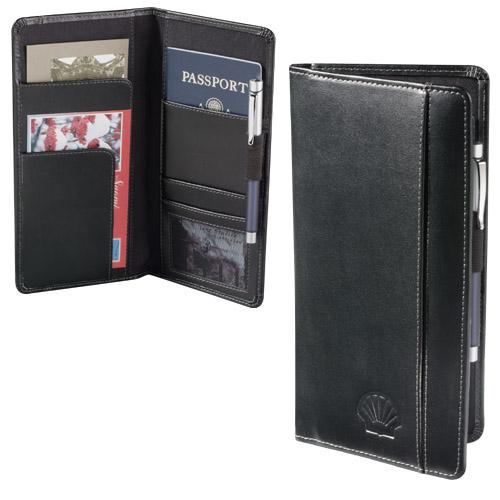 Black Leather Travel Passport Wallet