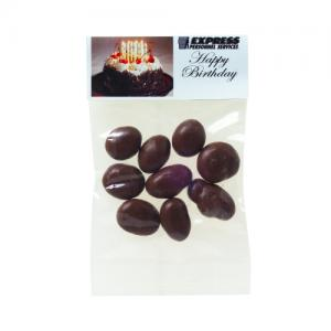 1 oz Chocolate Covered Raisins in Custom Header Bags