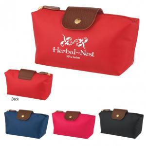 Cosmetic Vanity Bag with Leatherette Accents