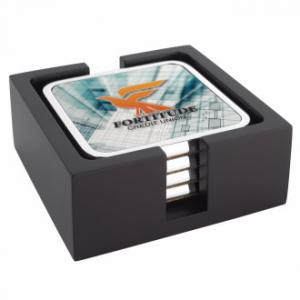 Four Square Radiant Coasters with Wood Tray