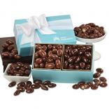 Milk & Dark Chocolate Almonds in Robins Egg Blue Gift Box