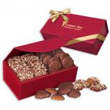 English Butter Toffee & Pecan Turtles in Red Magnetic Gift Box