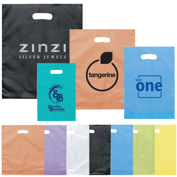 """12"""" x 15"""" x 3"""" Die Cut Frosted Plastic Bags"""