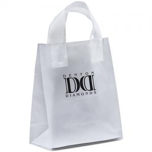 "8"" x 4"" x 10"" Frosted Soft-Loop Shopping Bags"