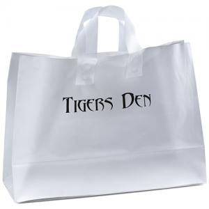 """16"""" x 6"""" x 12"""" Frosted Soft-Loop Shopping Bags"""