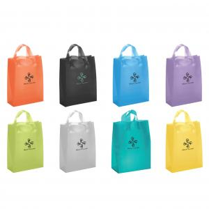 """8"""" x 4"""" x 10"""" Frosted Soft-Loop Colorific Shopping Bags"""